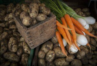 Perunoita, porkkanoita ja sipulia.